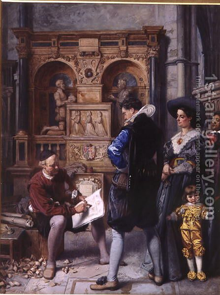 A Meeting with the Architect by Edward Killingworth Johnson - Reproduction Oil Painting