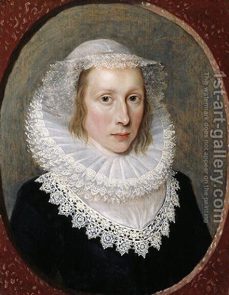 Portrait of a Lady 2 by Cornelis I Johnson - Reproduction Oil Painting