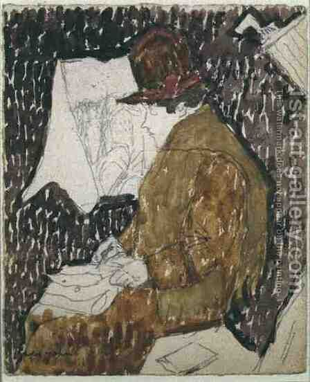 Profile of a Woman in a Railway Carriage by Gwen John - Reproduction Oil Painting