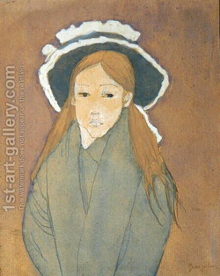 Girl with Large Hat and Straw Coloured Hair by Gwen John - Reproduction Oil Painting