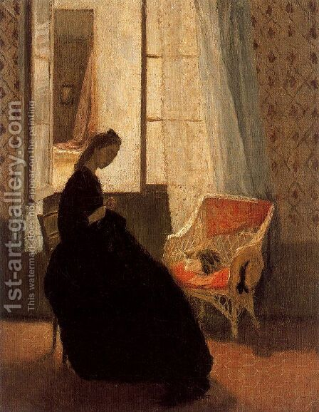 Woman Sewing at a Window by Gwen John - Reproduction Oil Painting