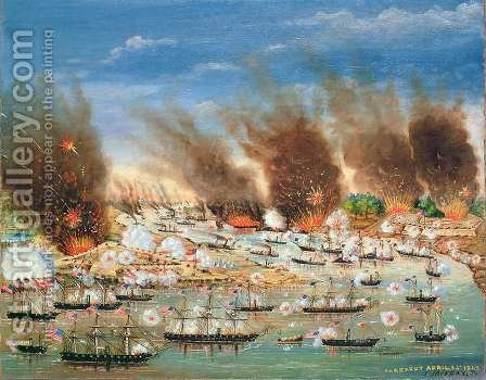 Farraguts fleet passing Fort Jackson and Fort St Philip by J. Joffray - Reproduction Oil Painting
