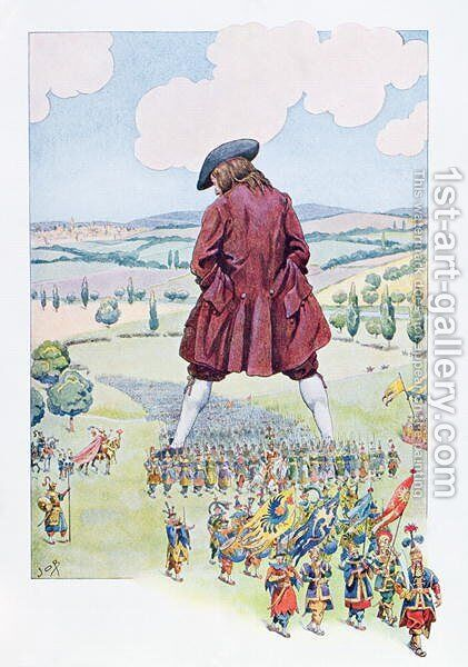 Gulliver inspecting the Lilliputian army by Jacques Onfray de Breville - Reproduction Oil Painting
