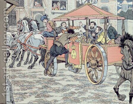 Assassination of Henri IV by Francois Ravaillac in the rue de la Ferronerie on 14th May 1610 by Jacques Onfray de Breville - Reproduction Oil Painting