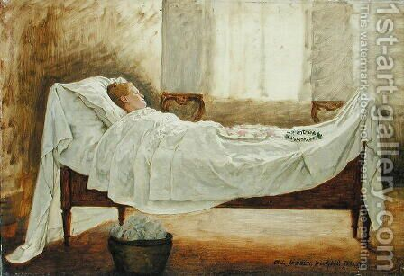 Deathbed by Carl Ludwig Jessen - Reproduction Oil Painting