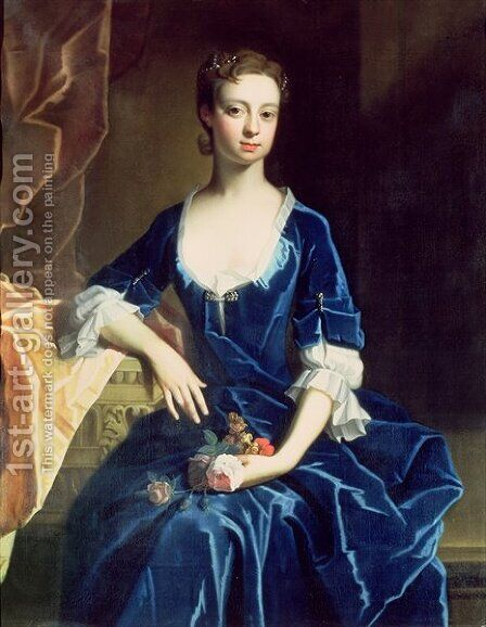 Portrait of a Lady in a Blue Velvet Dress by (attr. to) Jervas, Charles - Reproduction Oil Painting