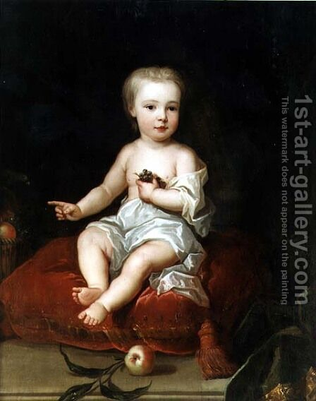 Portrait of Holles St John 1710-38 youngest son of Henry 1st Viscount St John as a child by (attr. to) Jervas, Charles - Reproduction Oil Painting