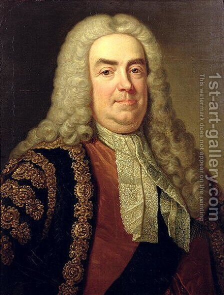 Portrait of Sir Robert Walpole 1676-1745 by Charles Jervas - Reproduction Oil Painting