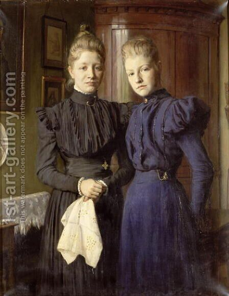 The Two Sisters by August Andreas Jerndorff - Reproduction Oil Painting