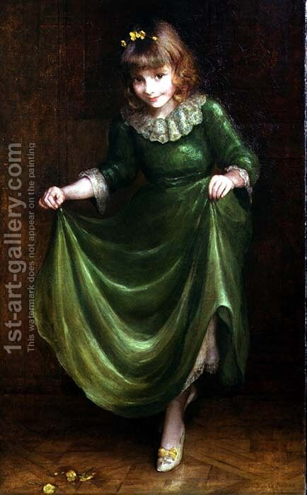 Portrait of a young girl in a green dress by Blanche Jenkins - Reproduction Oil Painting