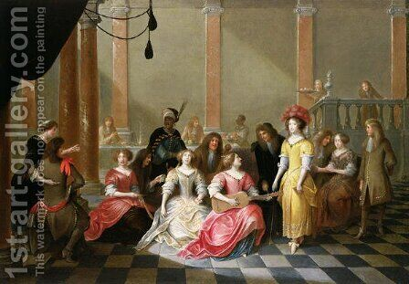 An Elegant Company at Music Before a Banquet by Hieronymus Janssens - Reproduction Oil Painting
