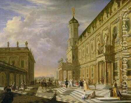 Elegant Figures in a Palace Forecourt by Hieronymus Janssens - Reproduction Oil Painting
