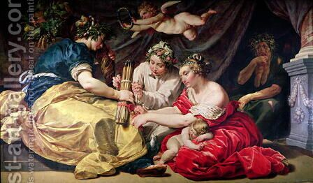Peace and Plenty Binding the Arrows of War by Abraham Janssens van Nuyssen - Reproduction Oil Painting