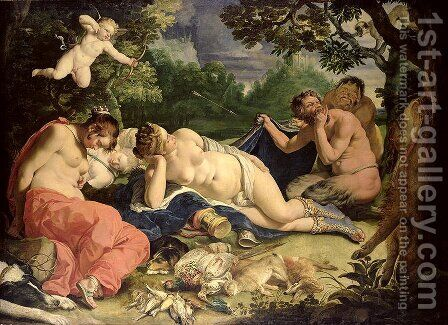 Diana and Nymphs Sleeping Visited by Satyrs by Abraham Janssens van Nuyssen - Reproduction Oil Painting