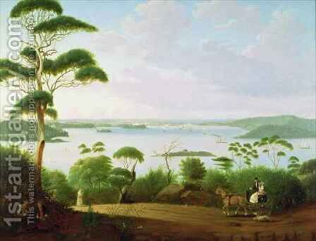 Sydney Harbour looking towards Sydney by Jacob Janssen - Reproduction Oil Painting