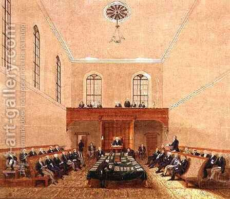 Dr Lang addressing the New South Wales Legislative Council Australia by Jacob Janssen - Reproduction Oil Painting