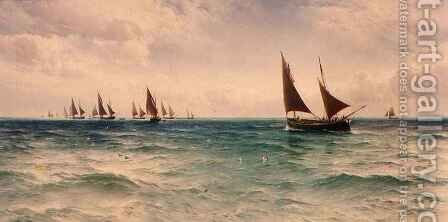 Fishing Boats Going Out by David James - Reproduction Oil Painting