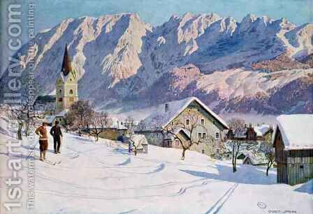 Mitterndorf in Austria after an original watercolour by (after) Jahn, Gustave - Reproduction Oil Painting