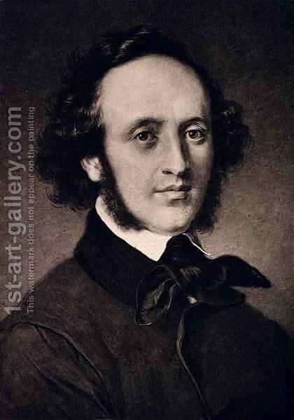 Portrait of Felix Mendelssohn 1809-47 by (after) Jager (Jaeger), Carl - Reproduction Oil Painting