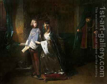 Louis XI of France surprising the Queen instructing the Dauphin contrary to his will by Claude Jacquand - Reproduction Oil Painting
