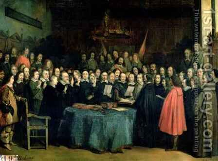 The Swearing of the Oath of Ratification of the Treaty of Munster by Claude Jacquand - Reproduction Oil Painting