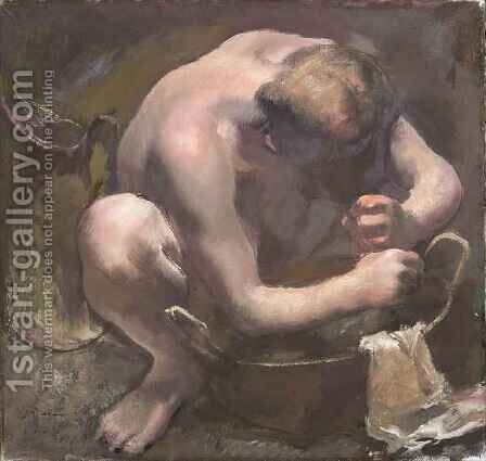 Model Washing her Hair by Alexandre Jacovleff - Reproduction Oil Painting