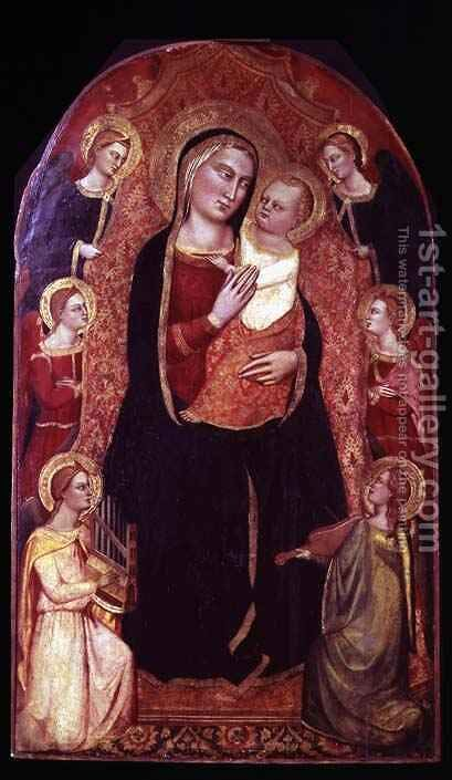Virgin and Child Enthroned with Angels by Cione Jacopo di - Reproduction Oil Painting