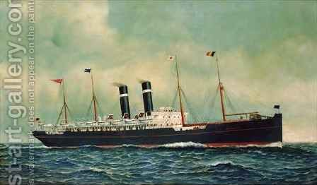 Steamer Kroonland by Antonio Jacobsen - Reproduction Oil Painting