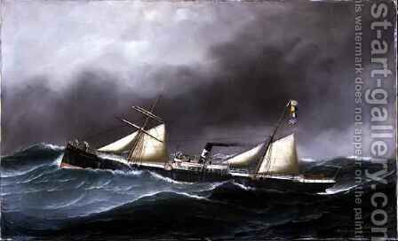 SS Brooklyn City by Antonio Jacobsen - Reproduction Oil Painting