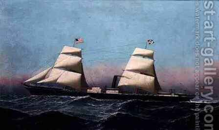 A British Brig Rigged Steamship Outward Bound for America by Antonio Jacobsen - Reproduction Oil Painting