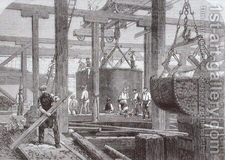 View of construction work taking place at Blackfriars Bridge for the London Chatham and Dover Railway showing the sinking of a cylinder for one of the circular stone piers by Mason Jackson - Reproduction Oil Painting