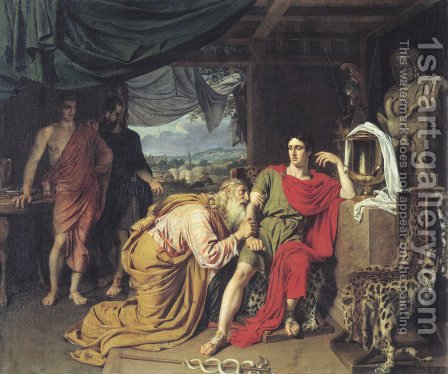 King Priam begging Achilles for the return of Hectors body by Alexander Ivanov - Reproduction Oil Painting