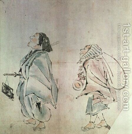 Samurai being followed by a servant by Hanabusa Itcho - Reproduction Oil Painting