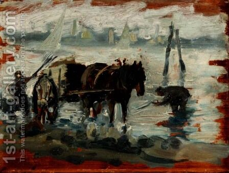 Gathering Kelp by Isaac Israels - Reproduction Oil Painting