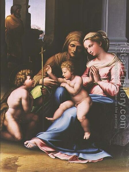 Madonna and Child with St Anne St John the Baptist and St Joseph by da Imola (Francucci) - Reproduction Oil Painting