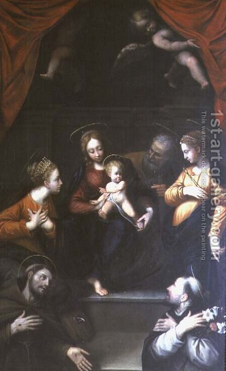 Madonna and Child with St Joseph and other Saints by da Imola (Francucci) - Reproduction Oil Painting