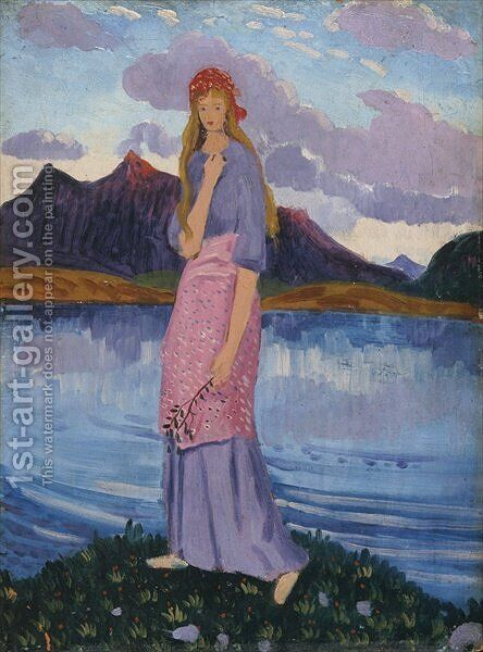 Girl standing by a lake by James Dickson Innes - Reproduction Oil Painting