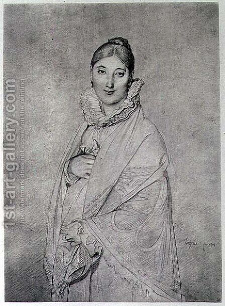 Portrait of a Woman by (after) Ingres, Jean Auguste Dominique - Reproduction Oil Painting