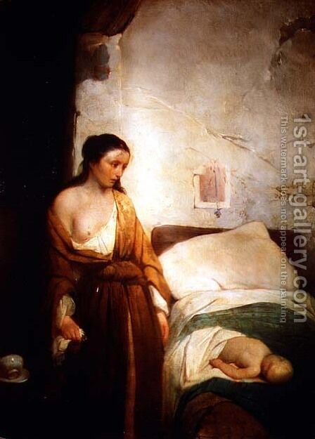 Poor Mother by Girolamo Induno - Reproduction Oil Painting