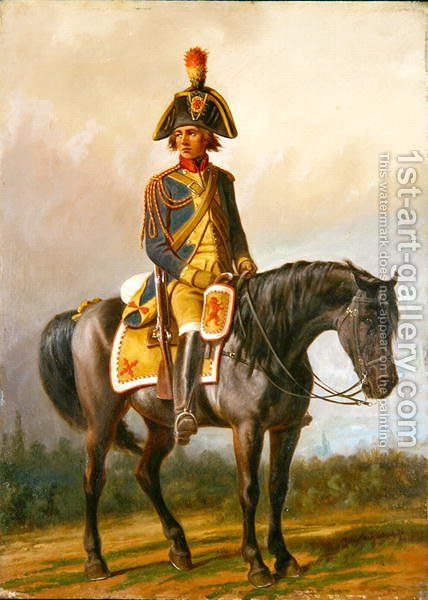 A Police Officer of the United Belgian States Mounted on a Horse by A. Jules Van Imschoot - Reproduction Oil Painting