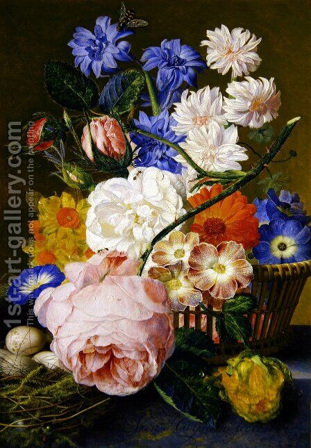 Roses morning glory narcissi aster and other flowers in a basket with eggs in a nest on a marble ledge by Jan Van Huysum - Reproduction Oil Painting