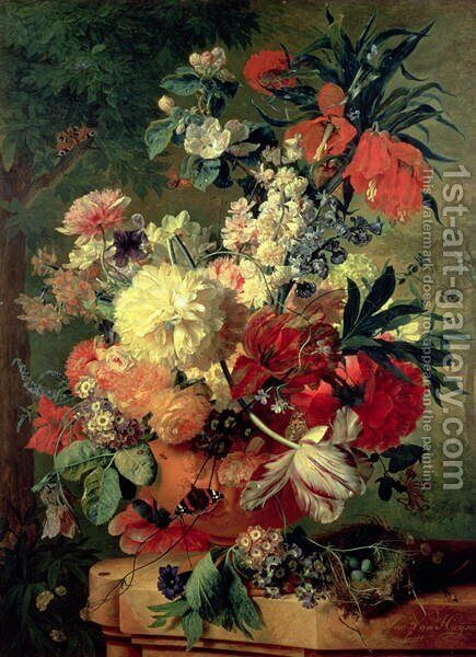 Flowers in a Vase by Jan Van Huysum - Reproduction Oil Painting