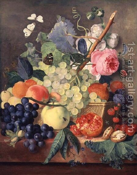 A Basket of Fruit by Jan Van Huysum - Reproduction Oil Painting