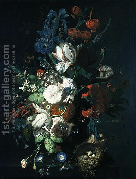 Vase with Flowers 2 by Jan Van Huysum - Reproduction Oil Painting