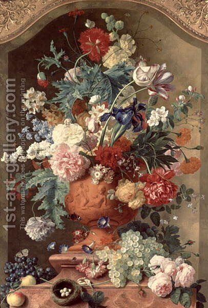 Flowers in a Terracotta Vase by Jan Van Huysum - Reproduction Oil Painting