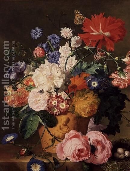 Flowers in a Terracotta Vase 2 by Jan Van Huysum - Reproduction Oil Painting
