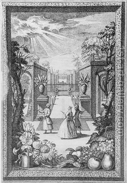 Frontispiece from Catalogus Plantarum by Jacob van Huysum - Reproduction Oil Painting