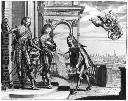 Pierre Palliot paying homage to Henri II 1588-1646 de Bourbon and his Son Louis II 1621-86 de Bourbon by Gregoire Huret - Reproduction Oil Painting