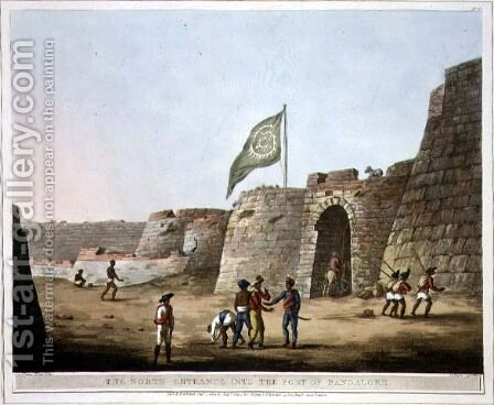 The North Entrance into the Fort of Bangalore by (after) Hunter, Lieutenant James - Reproduction Oil Painting