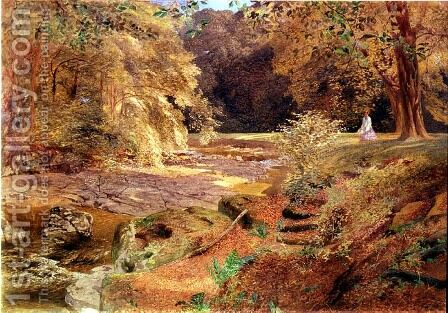 Lady by a rocky stream by Alfred William Hunt - Reproduction Oil Painting